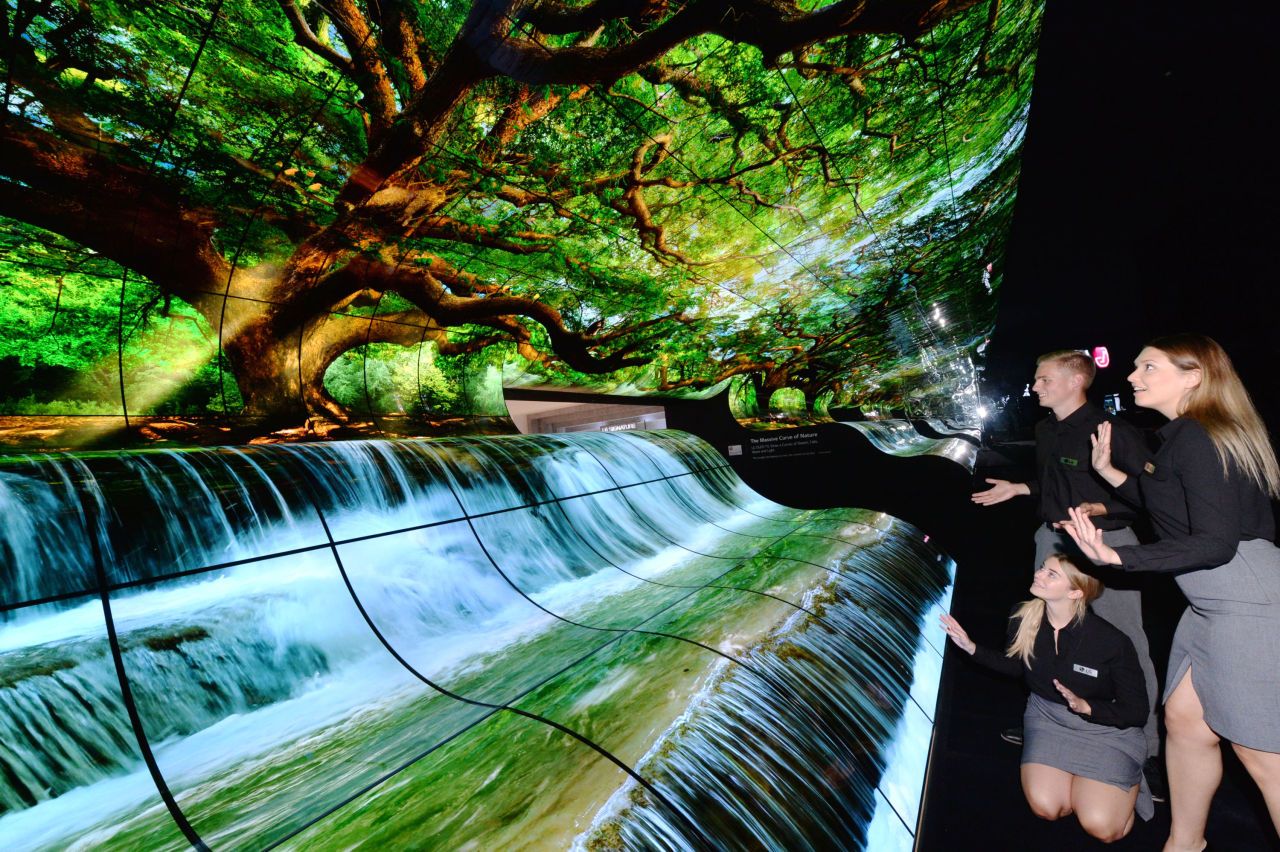 LG's flexible OLED waterfall at IFA 2019 (LG Electronics)