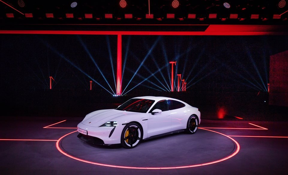 Porsche's first electric vehicle Taycan Turbo S is unveiled at its world premiere showcase in Fuzhou, China, Wednesday. (Porsche)