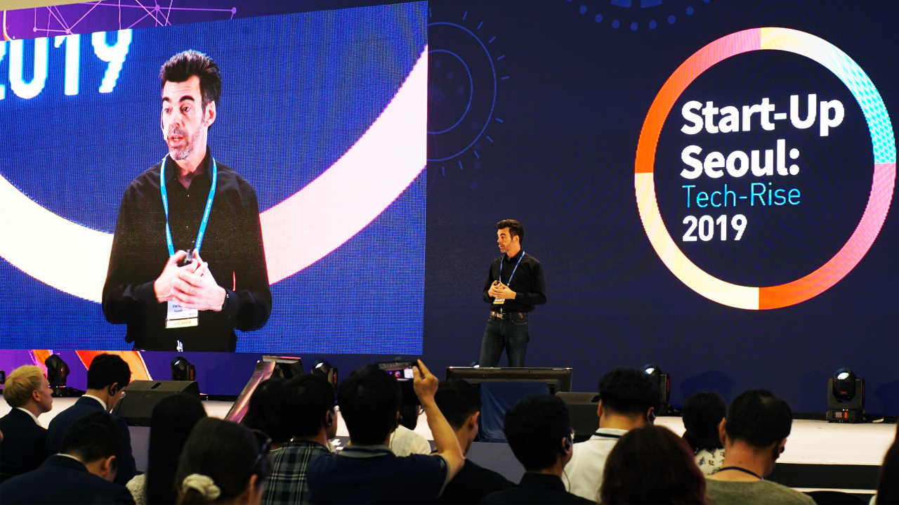 Startup Genome Founder and CEO JF Gauthier speaksStart-Up Seoul: Tech-Rise 2019 on Thursday. Choi Ji-won/The Korea Herald