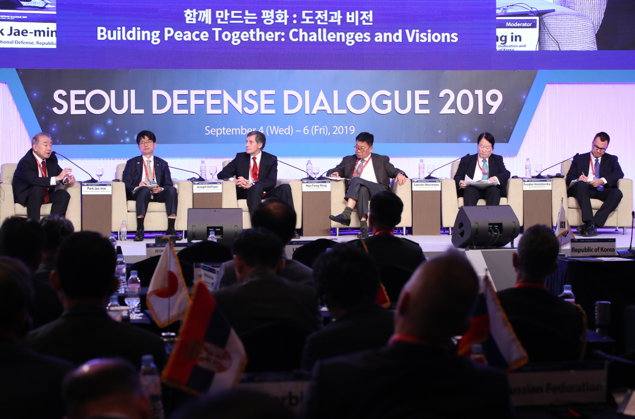 Panels speak at the 2019 Seoul Defense Dialogue held in Seoul on Thursday. (Yonhap)