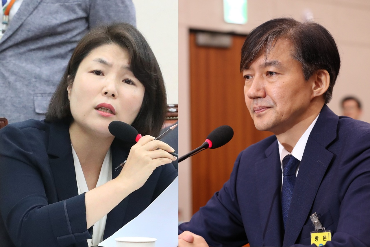 Liberty Korea Party spokesperson Rep. Jun Hee-kyung (left) and Justice Minister nominee Cho Kuk (Yonhap)