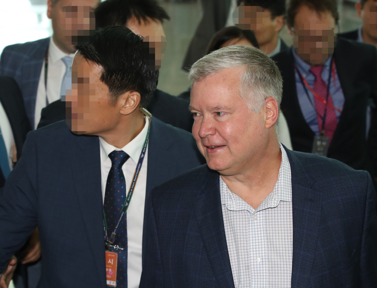 US Special Representative for North Korea Stephen Biegun seen at the Incheon International Airport on Aug. 23. Yonhap