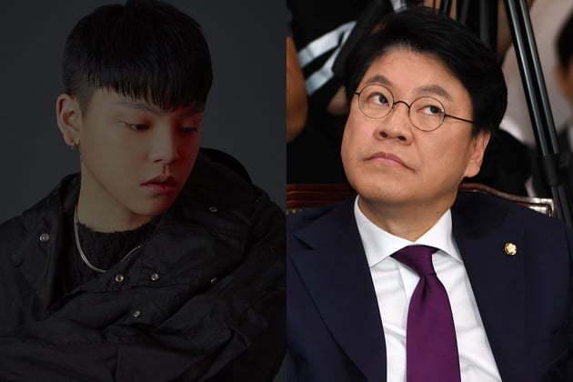 Liberty Party Korea Rep. Chang Je-won (right) and his son Chang Yong-jun (Indigo Music, Yonhap)