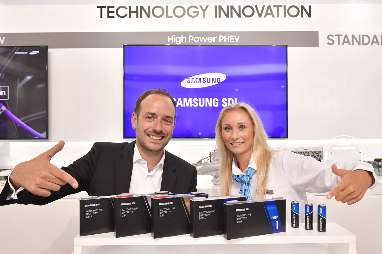 Officials introduce a variety of battery solutions at the IAA 2019 in Frankfurt on Tuesday. (Samsung SDI)