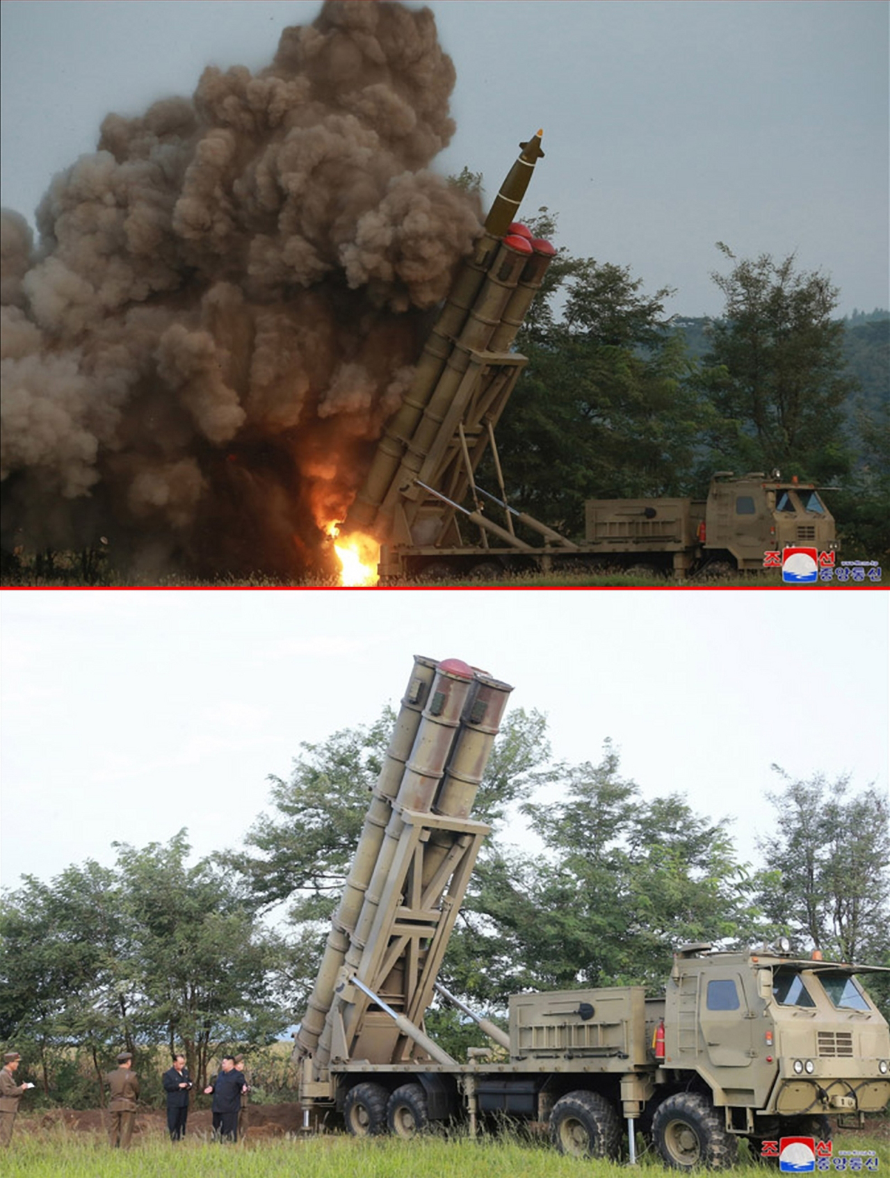In the photograph (above) released by Korean Central News Agency on Wednesday, three tubes of the North Korea's