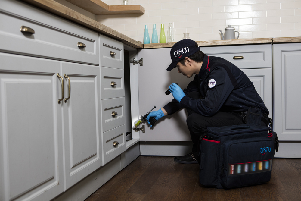 A Cesco employee carries out an anti-pest inspection at a client's house. (Cesco)