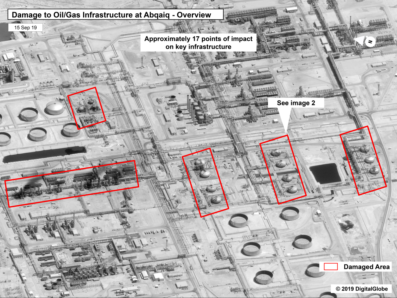 This image provided Sunday by the US government and DigitalGlobe and annotaed by the source, shows damage to the infrastructure at Saudi Aramco'a Abaqaiq oil processing facility in Buqyaq, Saudi Arabia. (AP-Yonhap)