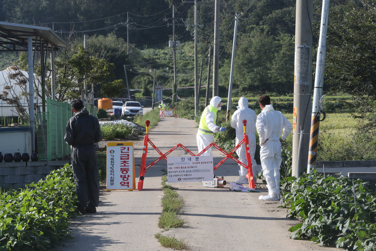 Quarantine officials restrict access to a pig farm in Paju, Gyeonggi Province, on Tuesday after the first case of African swine fever in the nation was confirmed at the farm. (Yonhap)