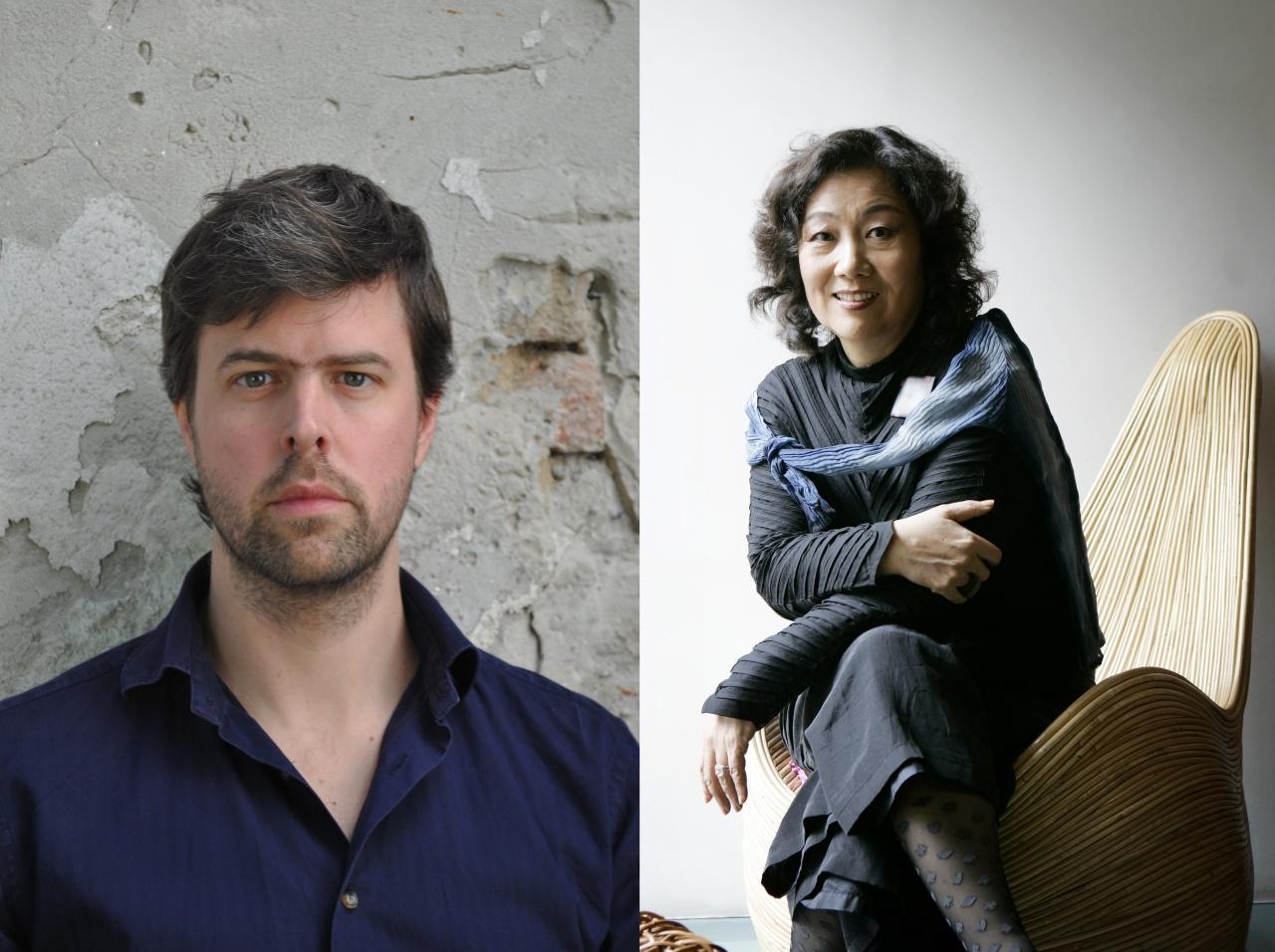 Writers David Szalay (left) and Moon Chung-hee (LTI Korea)