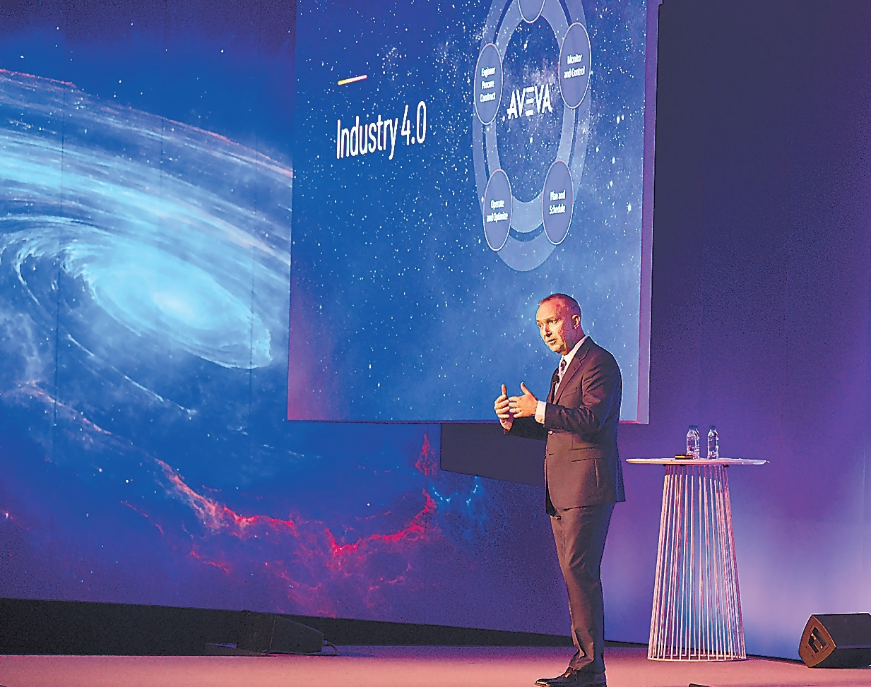 Aveva CEO Craig Hayman delivers the opening speech at the Aveva World Summit 2019 in Singapore on Tuesday. (Aveva)