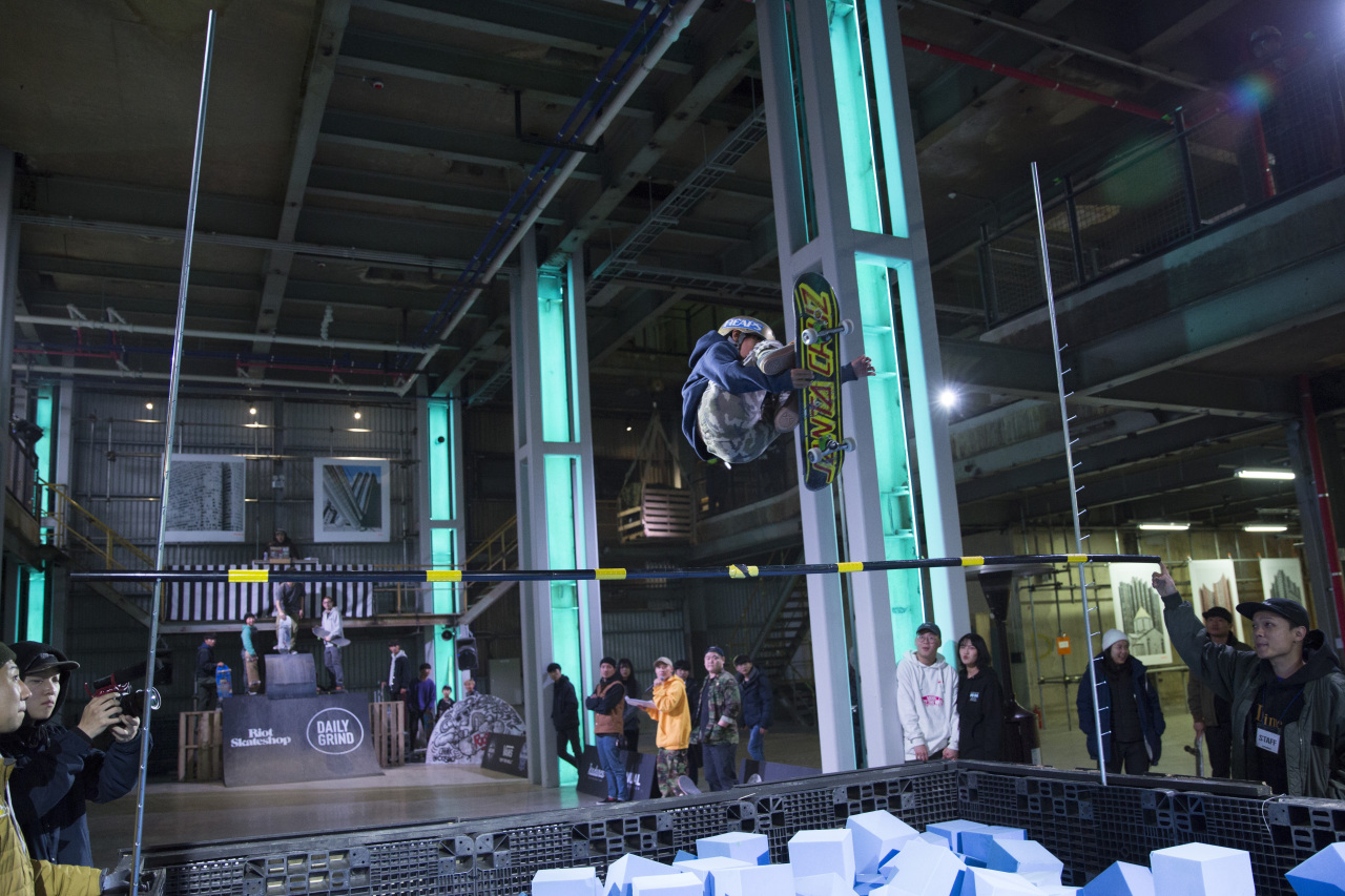 A kid skateboards inside the renovated factory building of Cosmo 40 in Incheon. (Cosmo 40)