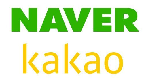 The logos of Naver and Kakao. Naver and Kakao