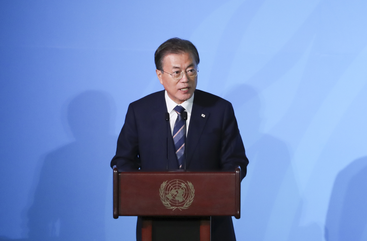 President Moon Jae-in addresses the UN Climate Action Summit in New York on Monday. Yonhap