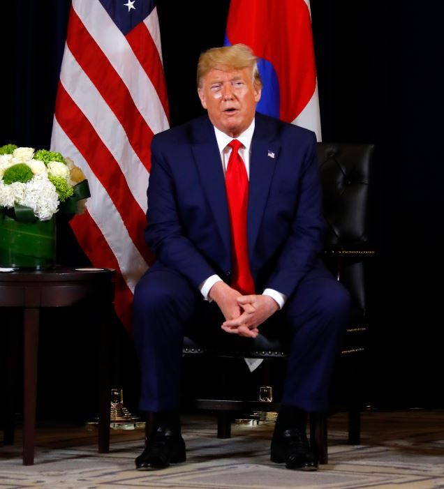 US President Donald Trump addresses the media before the summit talks with President Moon Jae-in in New York on Monday. Yonhap