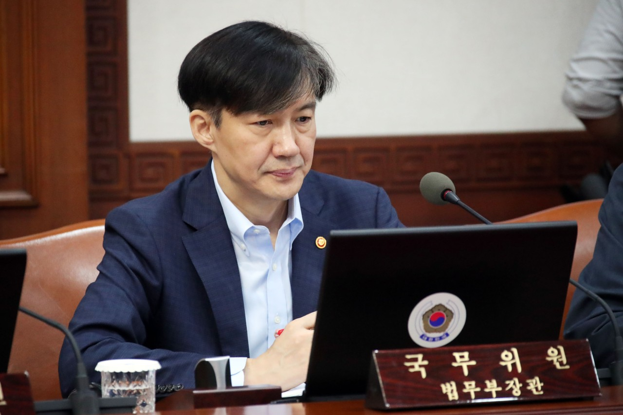 Justice Minister Cho Kuk attends Cabinet meeting Tuesday. (Yonhap)