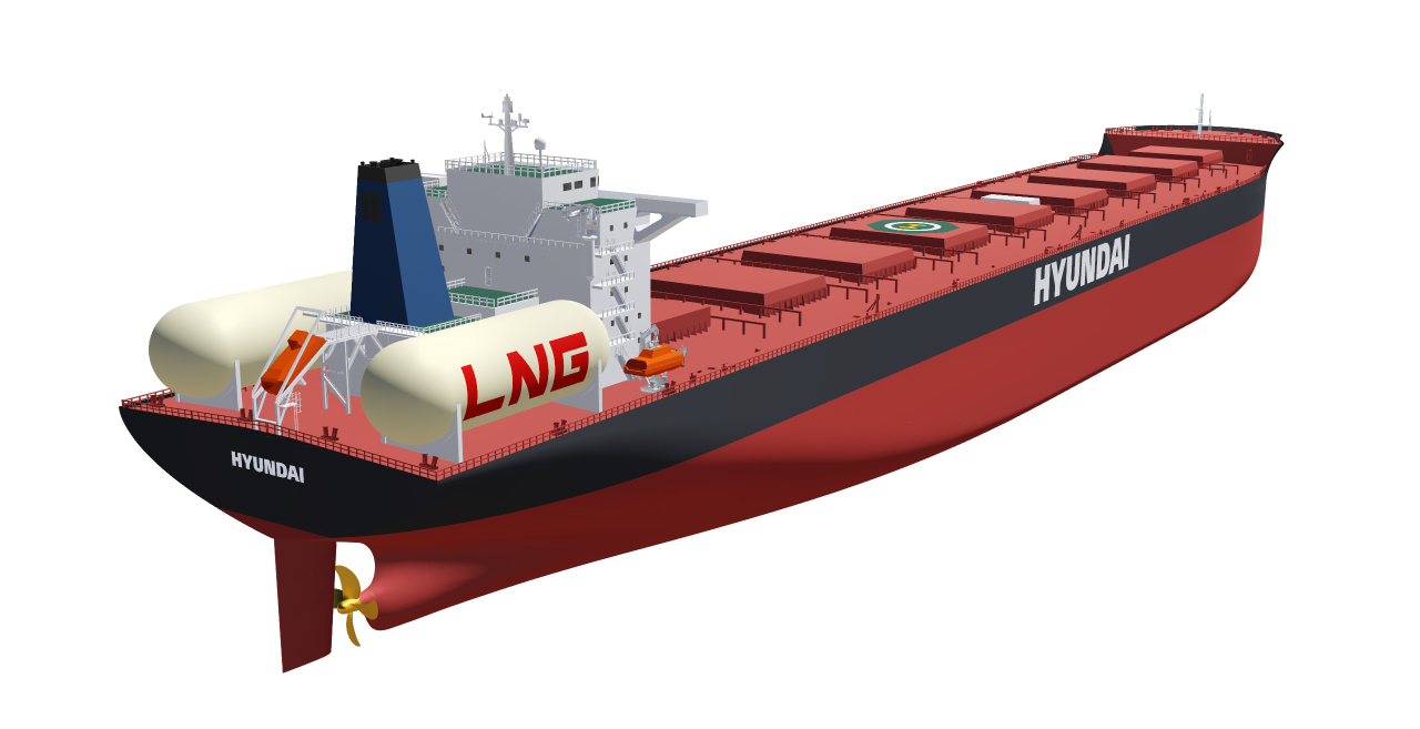Aerial view of LNG propulsion ship equipped with cylindrical LNG tank (Type-C) (HHI)