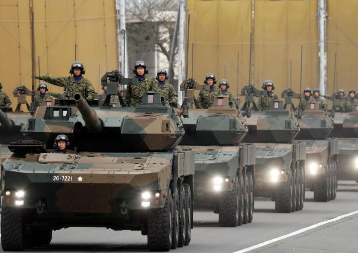 Members of a tank unit of Japan's Self-Defense Forces parade during the annual SDF ceremony at Asaka Base in Asaka, north of Tokyo, Japan. (Reuters)