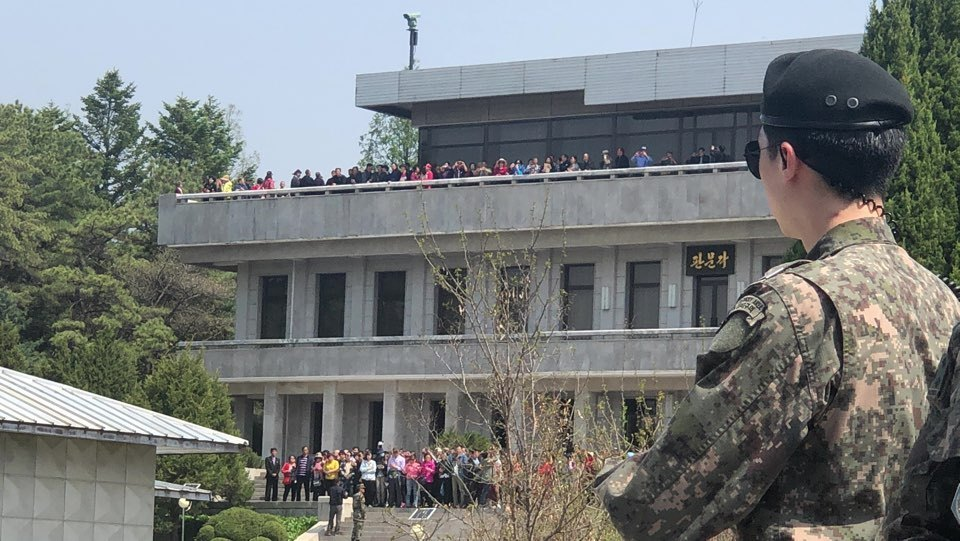 Tourists of North Korea tour the northern part of the JSA on May 1. (Jo He-rim/The Korea Herald)
