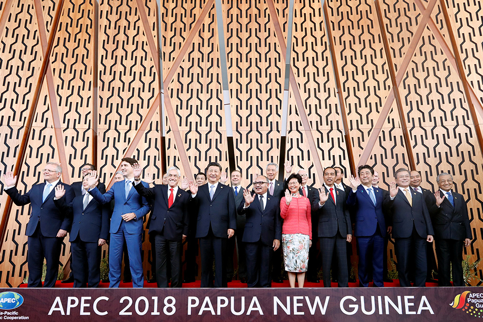 APEC leaders pose for a picture at the APEC Summit in Port Moresby, Papua New Guinea, in November 2018. (Reuters)