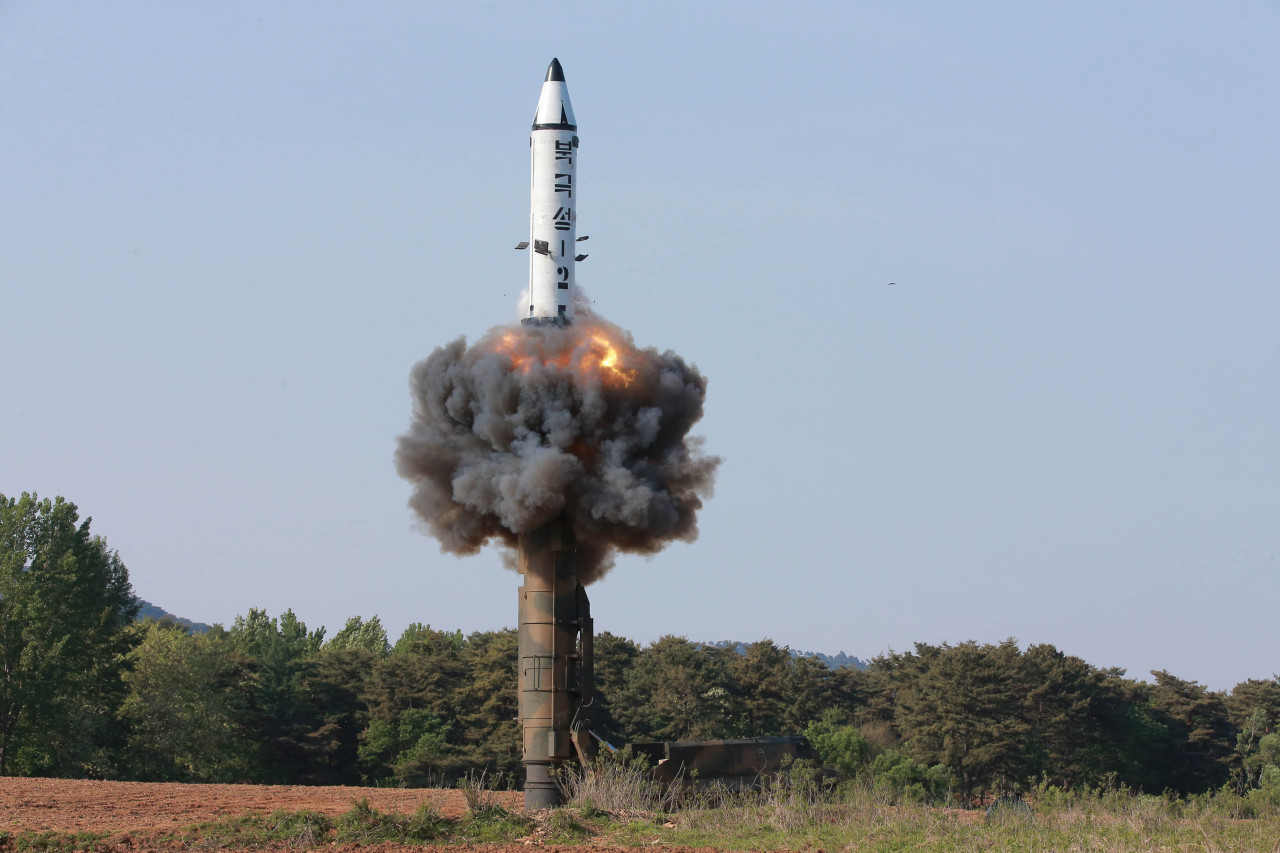 North Korea's Pukguksong-2 pictured during a test in May 2017. (Yonhap)