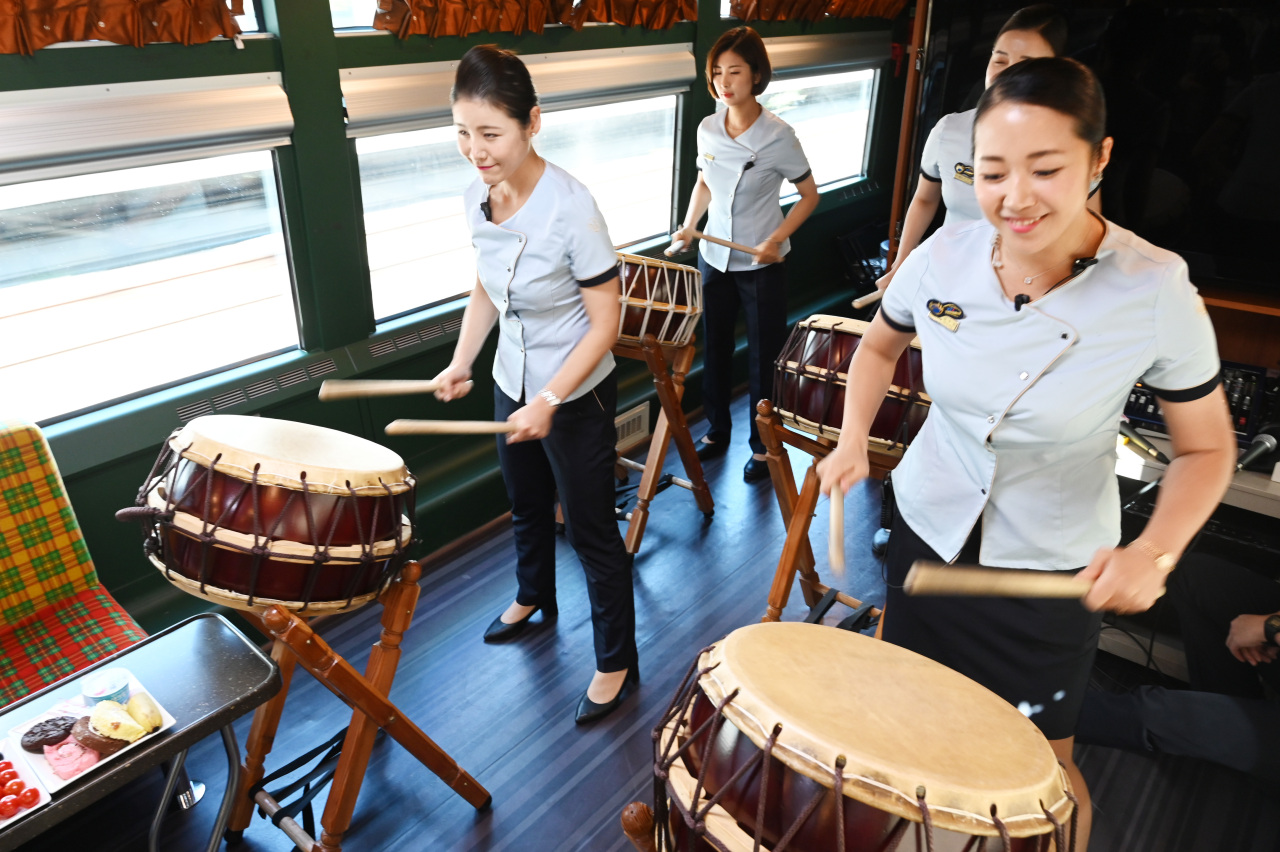 "The Haerang crew stages a ""Nanta"" performance in this file photo. (Korail)"
