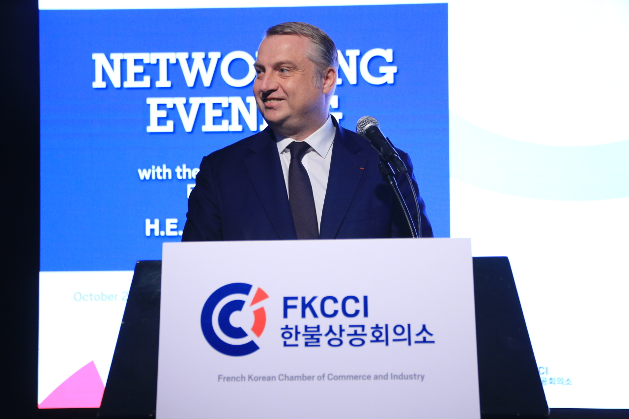 French Korean Chamber of Commerce and Industry Chairman David-Pierre Jalicon gives the opening speech at the FKCCI's networking evening with the new French ambassador, Oct. 2 at the Novotel Ambassador Seoul Dongdaemun in central Seoul. (FKCCI)