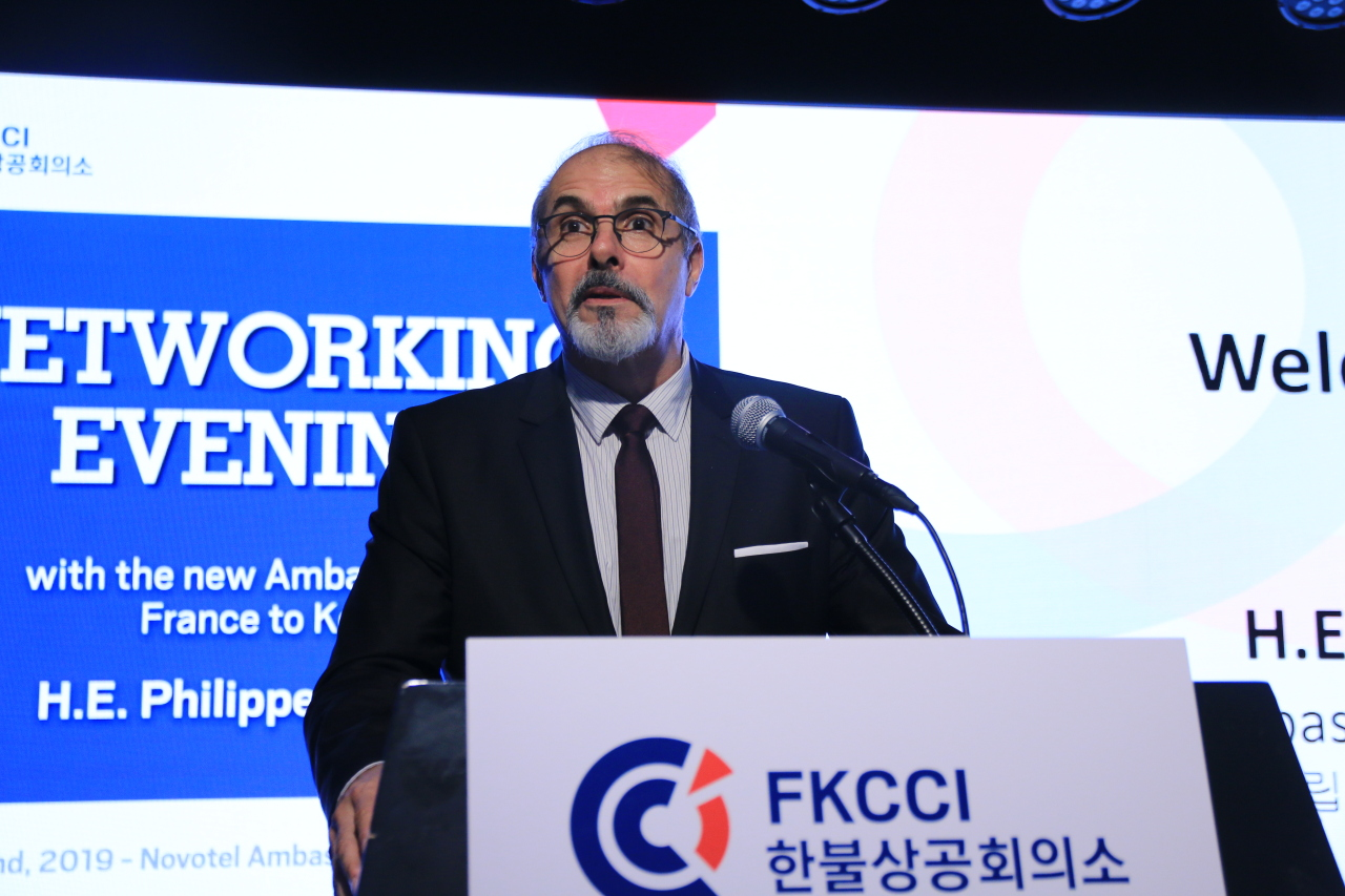 French Ambassador to South Korea Philippe Lefort speaks at an FKCCI networking session last week in central Seoul. (FKCCI)