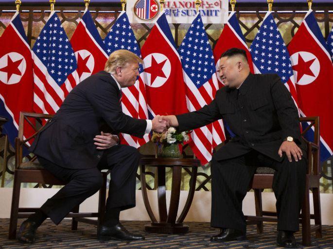 US President Donald Trump meets North Korean leader Kim Jong-un, Feb. 27, 2019, in Hanoi. (AP-Yonhap)
