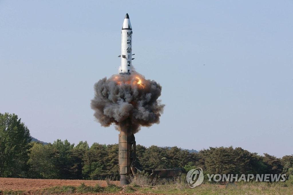 This file photo, released by the Korean Central News Agency in May 2019, shows North Korea's test fire of the Pukguksong-2 (KN-15) ballistic missile. South Korea's military said on Oct. 2 that Pyongyang fired what was believed to be a Pukguksong-type, submarine-launched ballistic missile (SLBM) from waters off its east coast earlier in the day. (For Use Only in the Republic of Korea. No Redistribution) (Yonhap)
