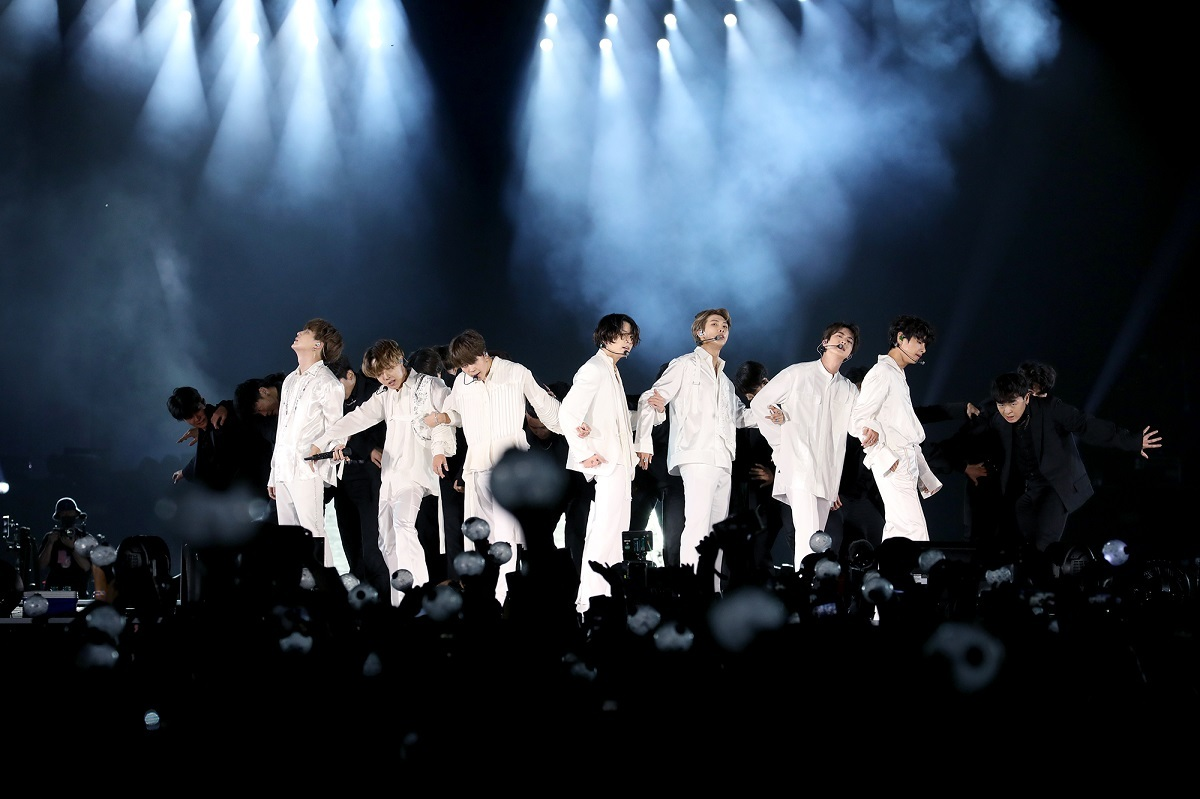 BTS goes onstage at King Fahd International Stadium in Riyadh, Saudi Arabia on Friday evening, marking the final overseas stop of its