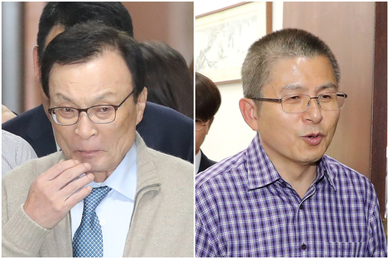 The ruling Democratic Party of Korea leader Rep. Lee Hae-chan (left) and main opposition Liberty Korea Party leader Hwang Kyo-ahn show mixed reactions on Monday, shortly after Justice Minister Cho Kuk's resignation announcement. (Yonhap)