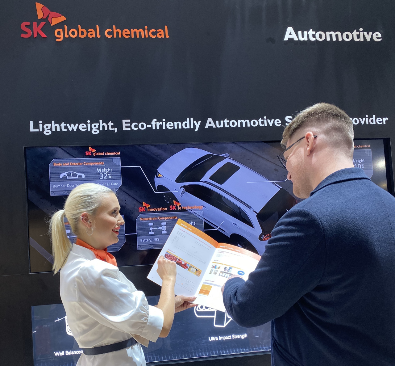 SK Global Chemical promotes its eco-friendly materials at K Show in Dusseldorf on Wednesday. (SK Global Chemical)