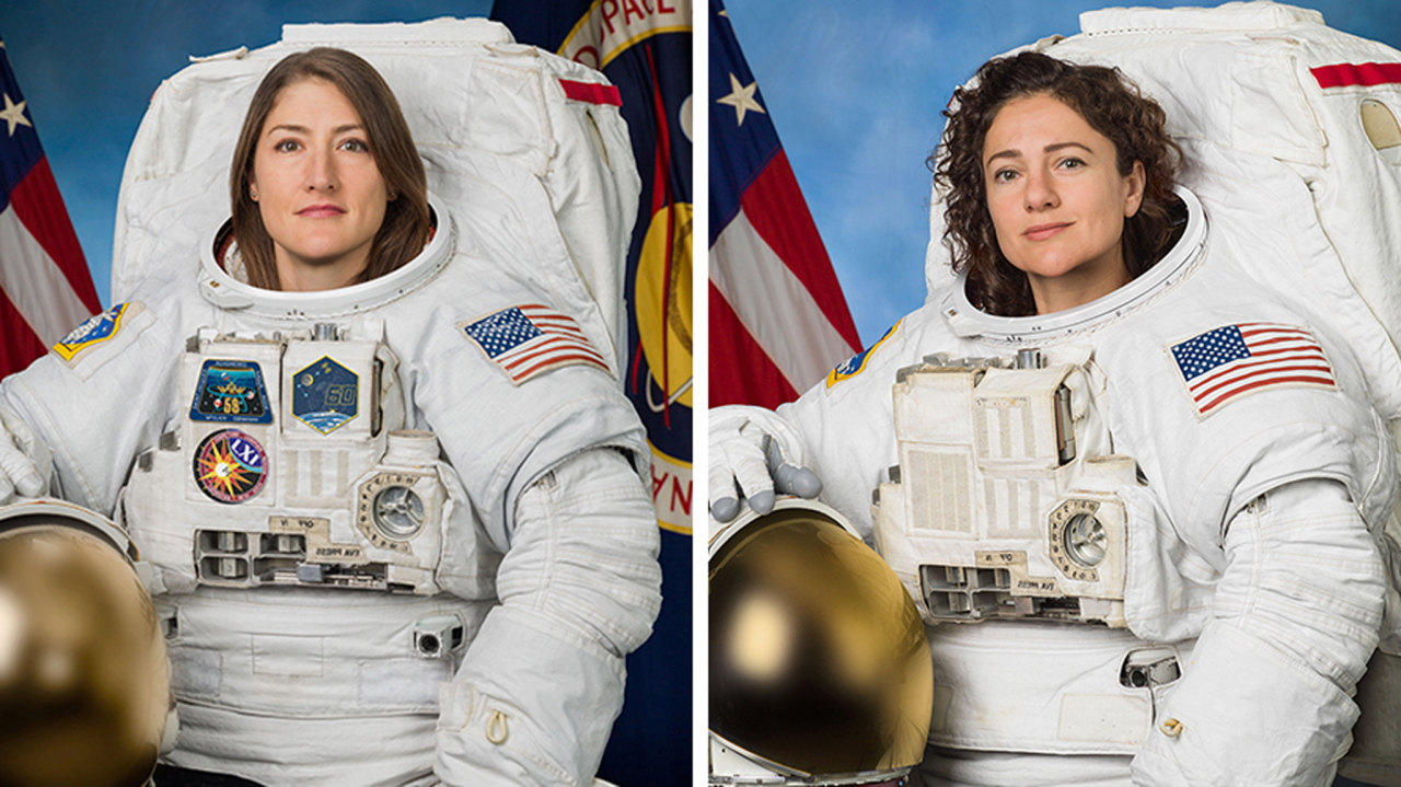 An undated handout composite photo made available by NASA shows astronauts Christina Koch (left) and Jessica Meir posing for their official NASA portraits. (EPA-Yonhap)