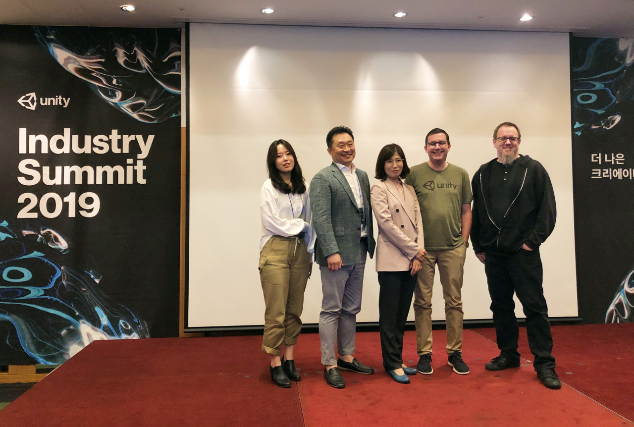 From left: Adriana Ryan, an evangelist at Unity Technologies Korea; Mac Kwon, head of ATM; country head Kim In-suk, Vice President Tim McDonough; and head of Tech, Media and Entertainment Mike Wuetherick attend the Unity Industry Summit in Seoul on Tuesday. (Lim Jeong-yeo/The Korea Herald)
