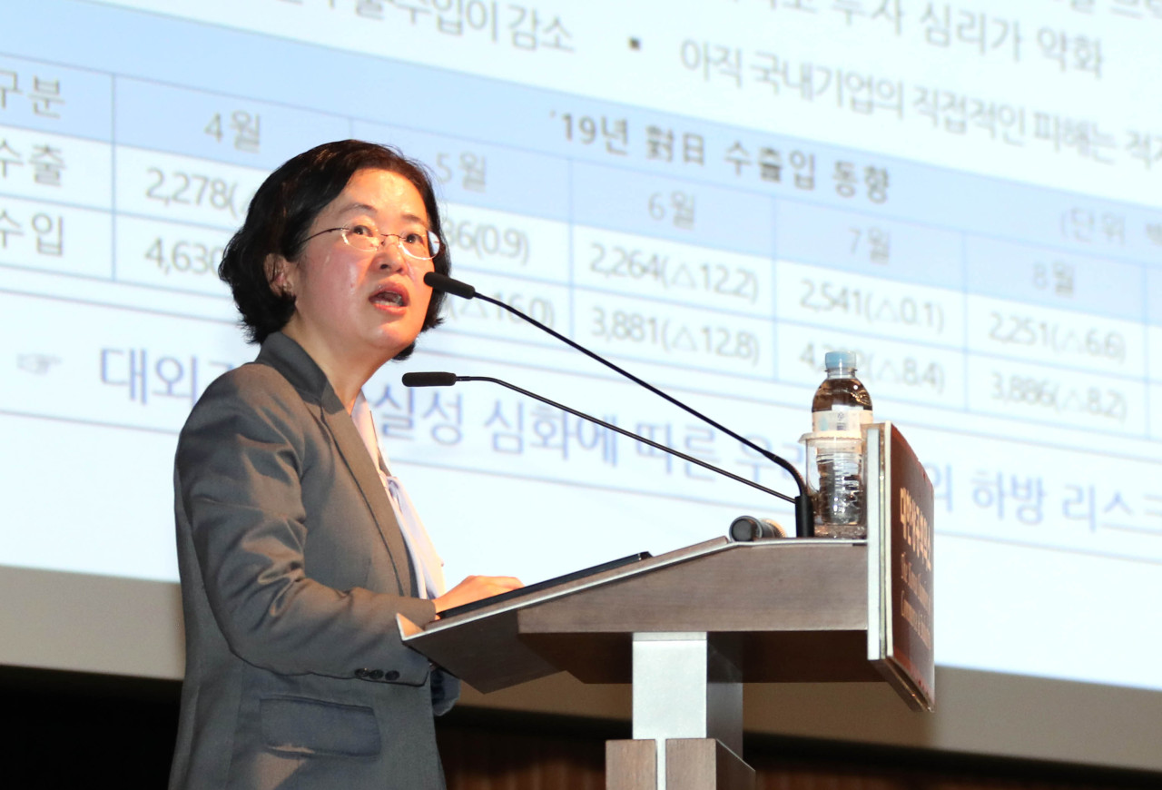 FTC Chairperson Joh Sung-wook speaks at a breakfast meeting with top company executives on Tuesday in Seoul. (KCCI)