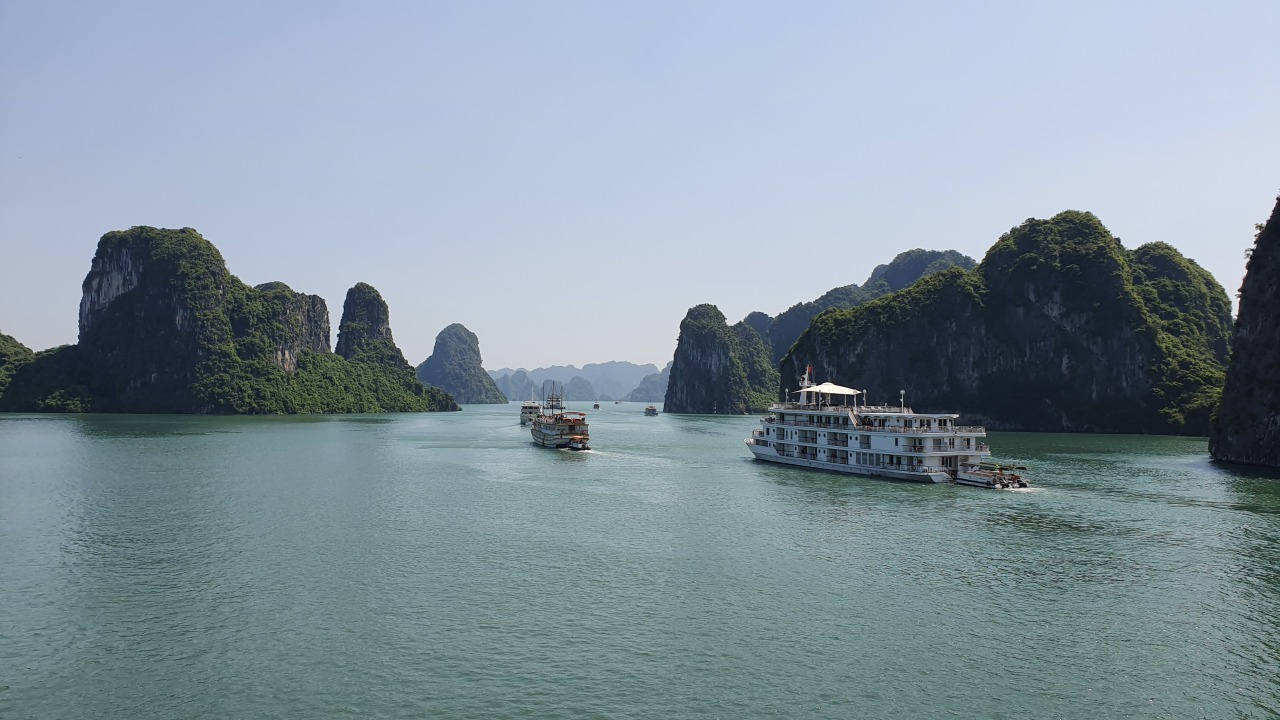 The Paradise Elegance cruises through Halong Bay, Vietnam. (Paul Kerry/The Korea Herald)
