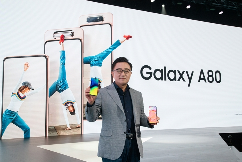Samsung CEO Koh Dong-jin introduces the Galaxy A80 at its launch ceremony. (Samsung Electronics)