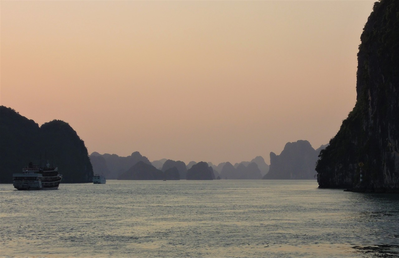 Sunset falls over Halong Bay, Vietnam. (Paul Kerry/The Korea Herald)