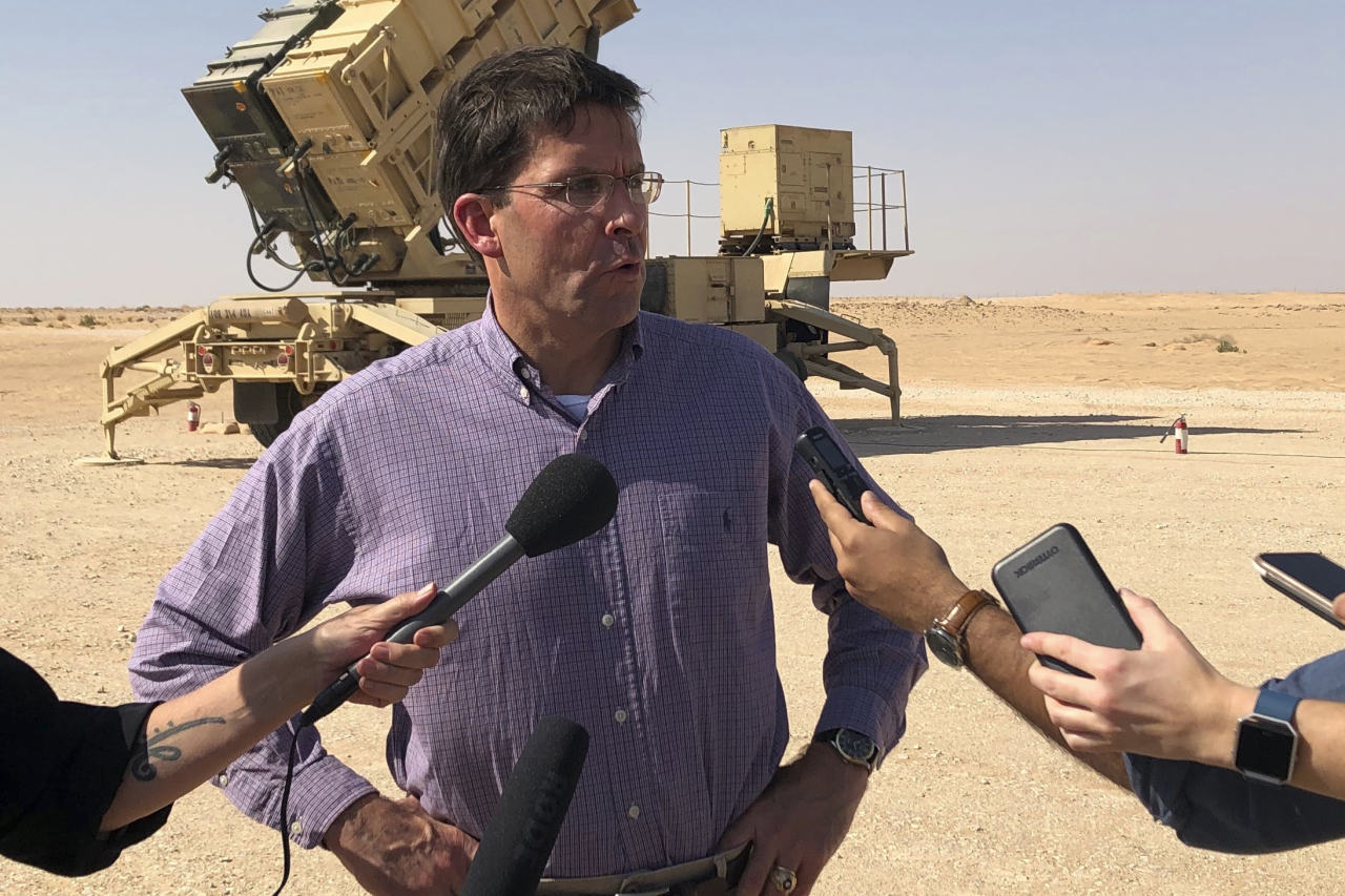 US Defense Secretary Mark Esper talks to reporters at Prince Sultan Air Base in Saudi Arabia, Tuesday.(AP-Yonhap)