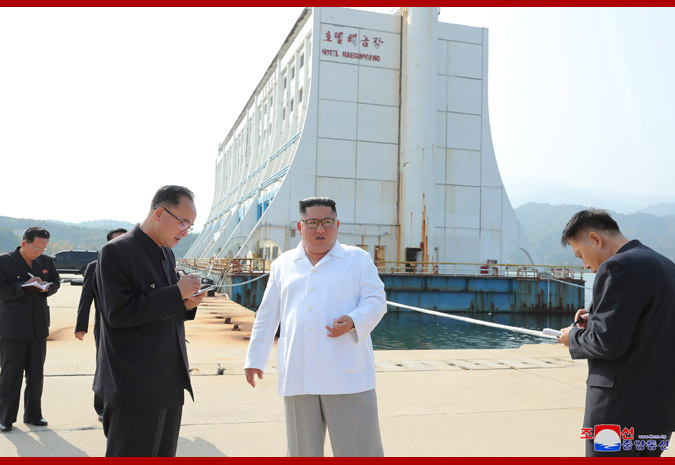 North Korean leader Kim Jong-un inspects the Kumgangsan tourist resort on the east coast. (KCNA)