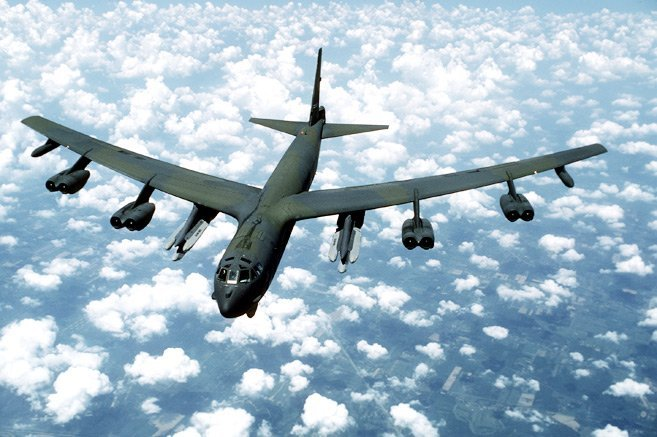 This captured image from US Air Force's homepage shows B-52 strategic bombers (Yonhap)
