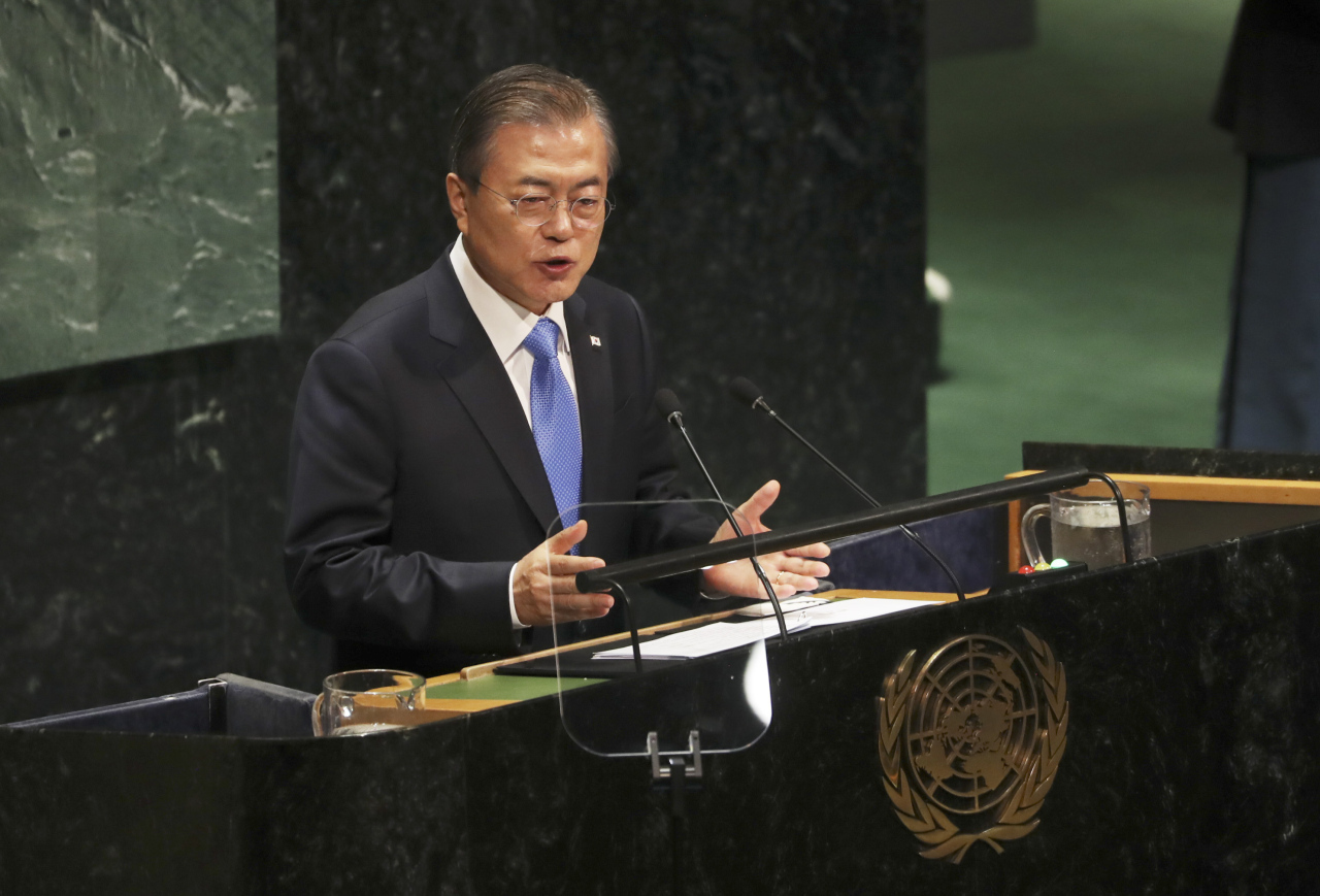 President Moon Jae-in delivers a keynote speech at the UN General Assembly on Sept. 24. (Yonhap)
