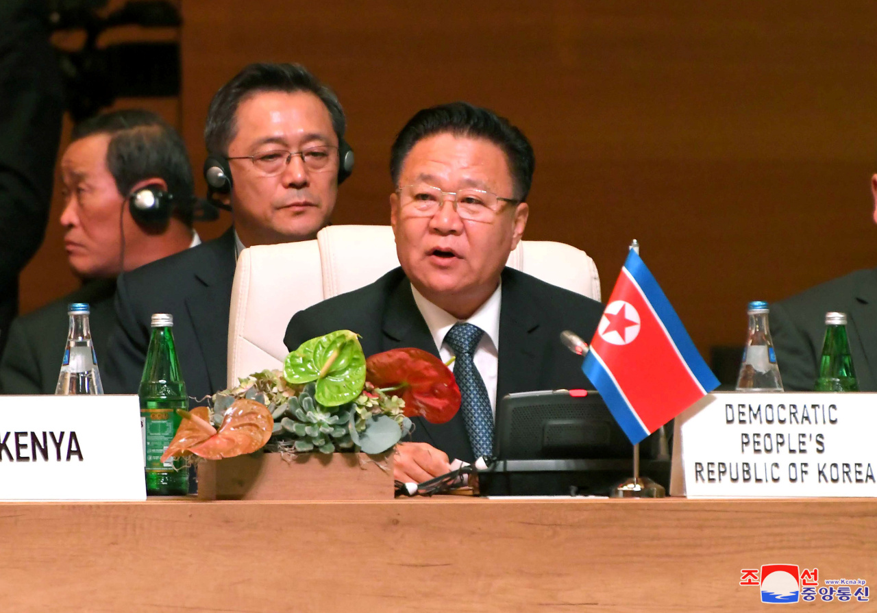 Choe Ryong-hae, North Korea`s president of the Presidium of the Supreme People`s Assembly, is seen attending the Non-Aligned Movement summit held in Azerbaijan in an image released by the Korean Central News Agency. Yonhap