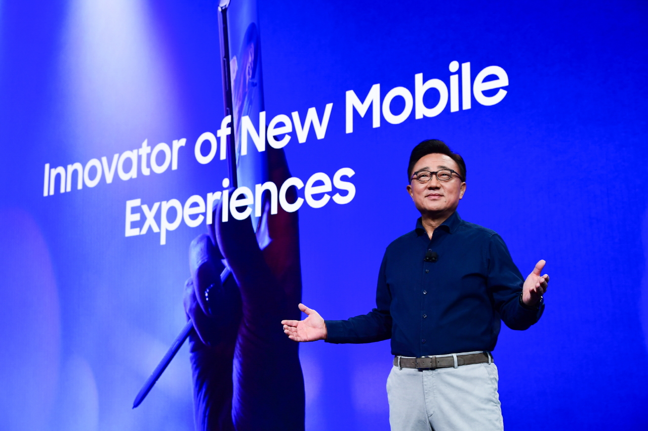 Samsung CEO Koh Dong-jin delivers a keynote speech at Samsung Developer Conference 2019 in San Jose, California, Tuesday. (Samsung Electronics)