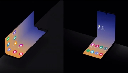 Samsung's conventional foldable smartphone (left) and the new vertical foldable design. (Yonhap)
