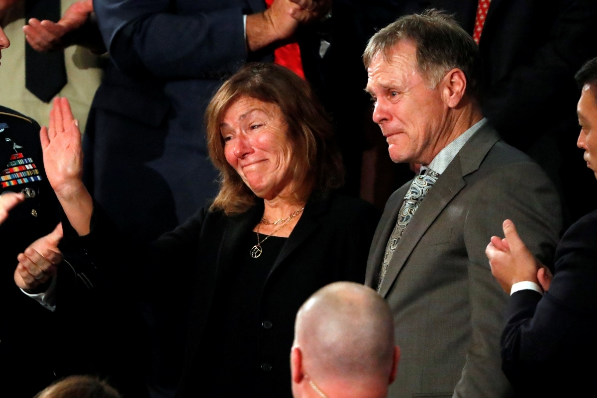 Otto Warmbier's parents, Fred and Cindy Warmbier, attend the 2018 State of the Union address. (Reuters)