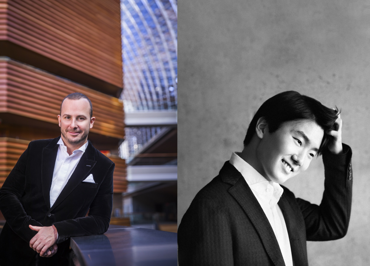 From left: Philadelphia Orchestra music director Yannick Nezet-Seguin (photo by Chris Lee) and pianist Cho Seong-jin (photo by Holger Hage)