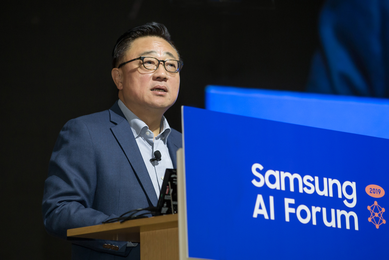 Samsung CEO Koh Dong-jin speaks in his opening speech at the Samsung AI Forum in Seoul on Tuesday. (Samsung Electronics)