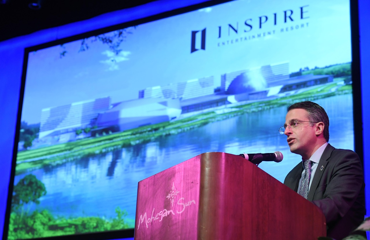 Mohegan Gaming & Entertainment CEO Mario Kontomerkos speaks during a press briefing on the Inspire project at the Mohegan Sun resort in Conneticut, US, Monday. (Yonhap)