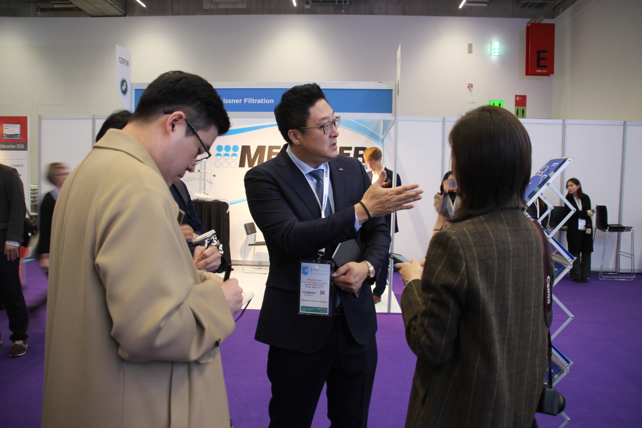 James Park talks to reporters at CPhI Worldwide 2019 in Frankfurt, Germany, on Tuesday. (Lim Jeong-yeo/The Korea Herald)